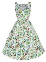 Vintage 50s Butterfly Heart Cut Out Neckline Rockabilly Swing Tea Dress 8-18