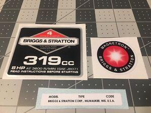 Briggs & Stratton 8-hp 319cc 1986-91 Shroud Labels Decals set of 3