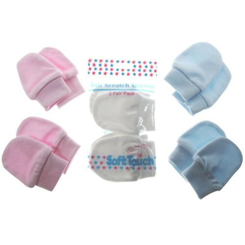 2 pairs Baby Anti Scratch Mittens Scratch Mitts Twin Pack Bagged