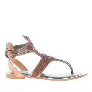 MEHER KAKALIA scarpe donna Sandalo infradito pelle grigio ricami ... 84740a3d5a5