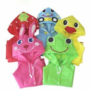 Toddler Rain Jacket Girls Boys Cartoon Raincoat Waterproof Hooded Long Rainwear