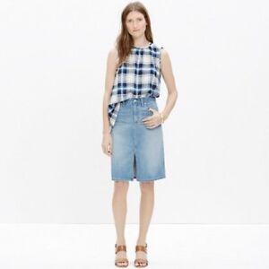 a957a58cda Madewell High Rise Denim Skirt Size 31 Lena Wash Light Blue Wash ...