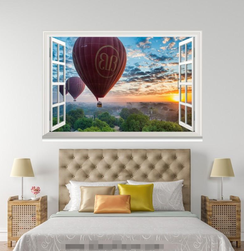 3D Balloon 4022 Open Windows WallPaper Murals Wall Print Decal Deco AJ Summer