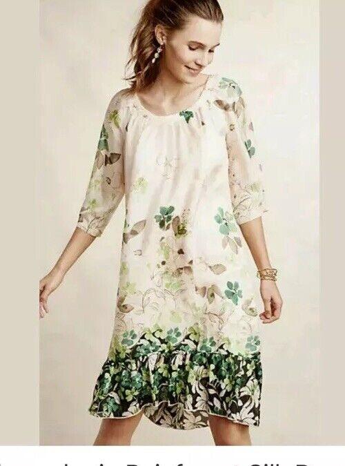 4. Anthropologie Rainforest Silk Dress Vanessa Virginia Virginia Virginia Green Floral  198 NWT 692c33