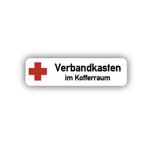 Verbandkasten im Kofferraum Beschriftung Militär Army Bundeswehr 10x3cm #A4928