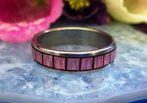 ☼ anillo de acero inoxidable anillo de acero inoxidable rosa Rosé arco iris cuadrados coloreada