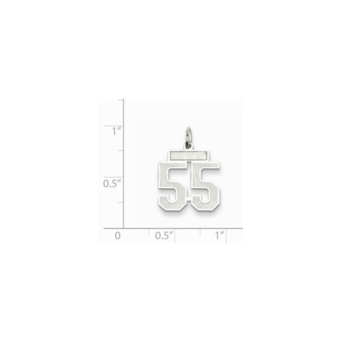 Sterling Silver Small Satin Number 55 Charm Pendant MSRP $57