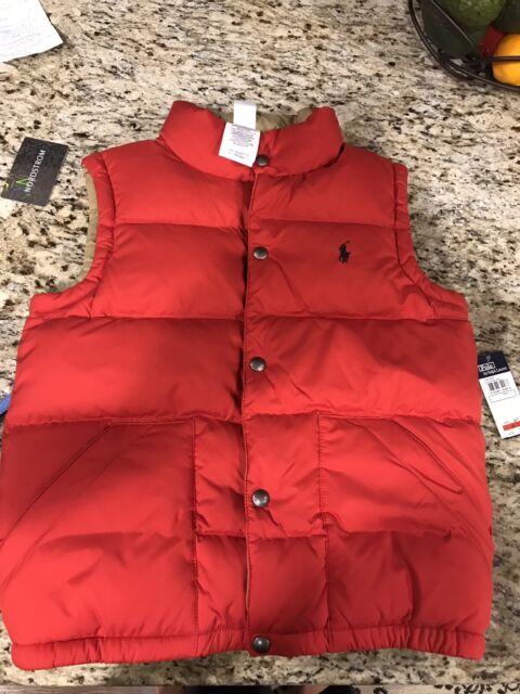 Polo Ralph Lauren Down Feather RedTan Reversible Vest Size: Boys Medium (10 12)