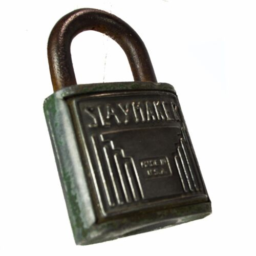 """F"" Padlock Steel Vintage Old Oval Lock no key"