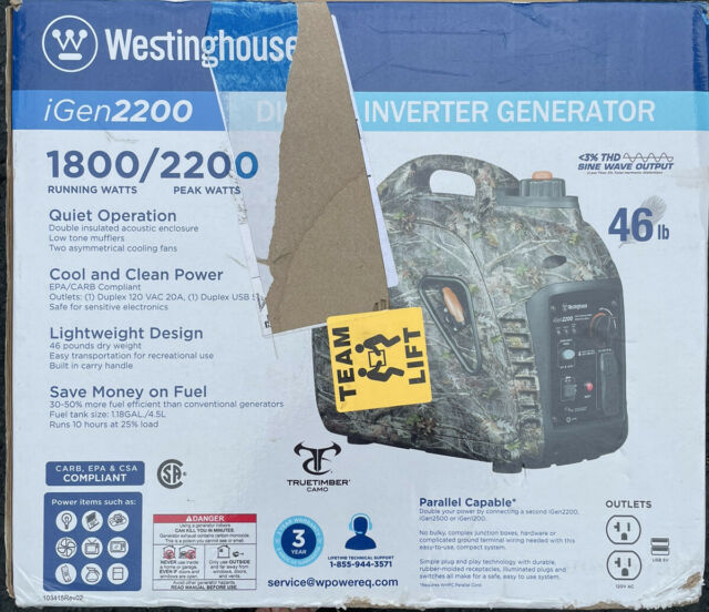 Westinghouse iGen2200 Portable Inverter Generator TrueTimber Camo
