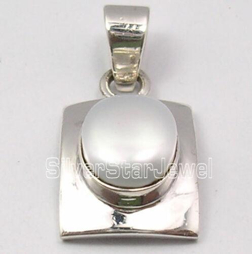 Ovale Cabochon Perle Pendentif Argent Sterling 925 Moderne Femme Bijoux