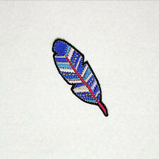 Feather Purple Iron on Sew on Embroidered Patch Badge Motif  For Clothing