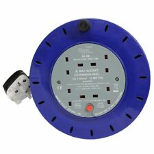 4 WAY HEAVY DUTY CABLE 10M METER EXTENSION REEL LEAD MAINS SOCKET 13 AMP PIFCO
