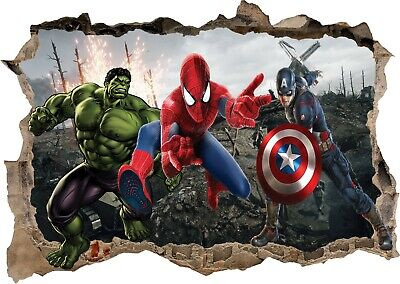 Hulk Marvel Avengers 3d View Wall Sticker Removable Children Bedroom Vinyl Art