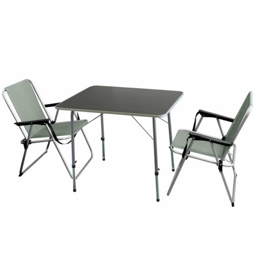 Campingmöbel-Set Klapptisch höhenverstellbar 80x60cm 3tlg 2 Klappstühle Grau