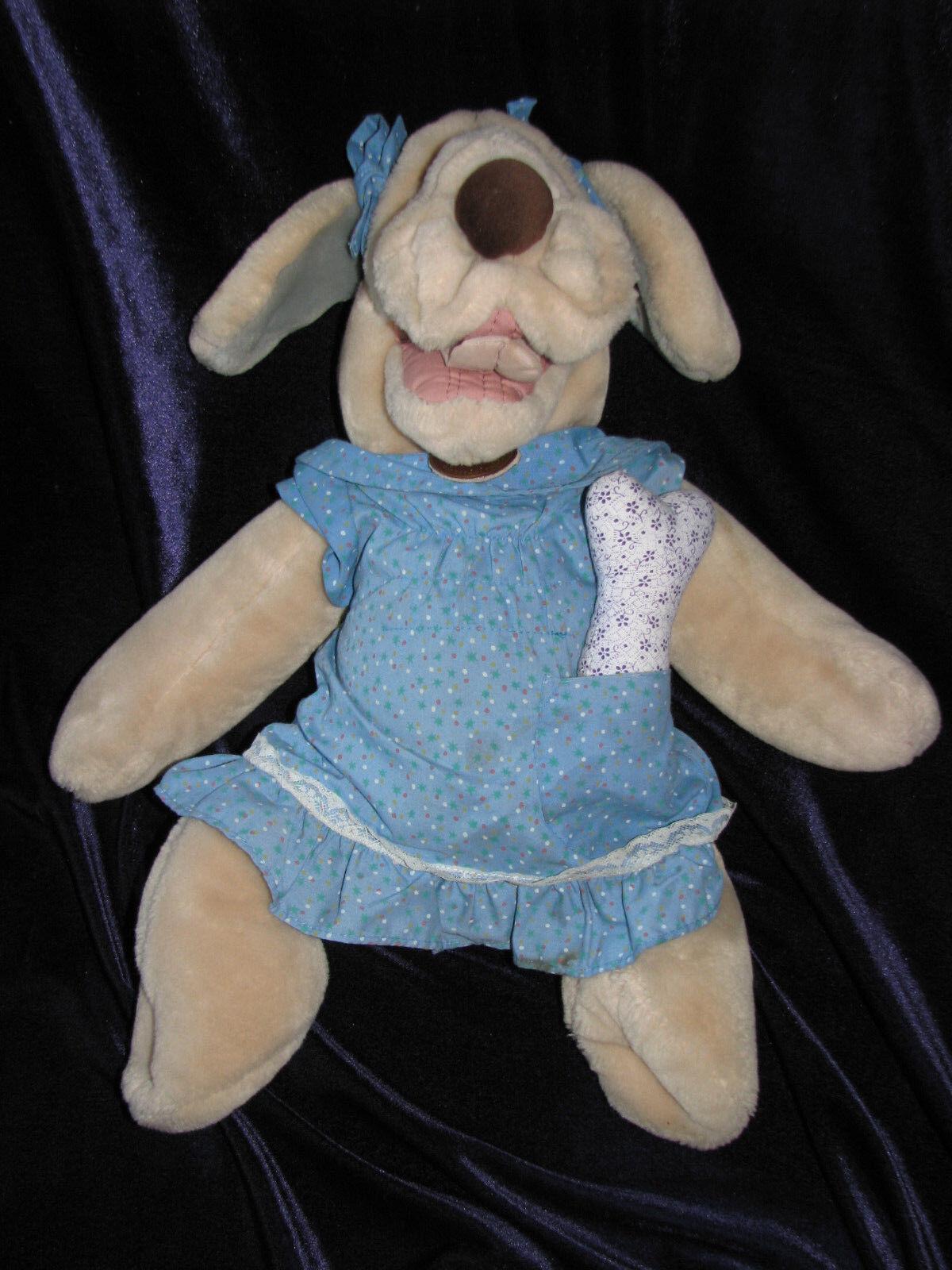 Wrinkles GANZ Puppet Plush Puppy Dog 18 Inch 1981 Girl with Dress Panties Bone