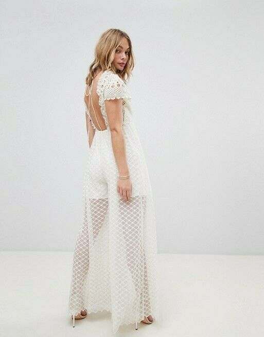 Free People NWT Size XS Chleo Embroidered crochet  CREAM Jumpsuit NEW