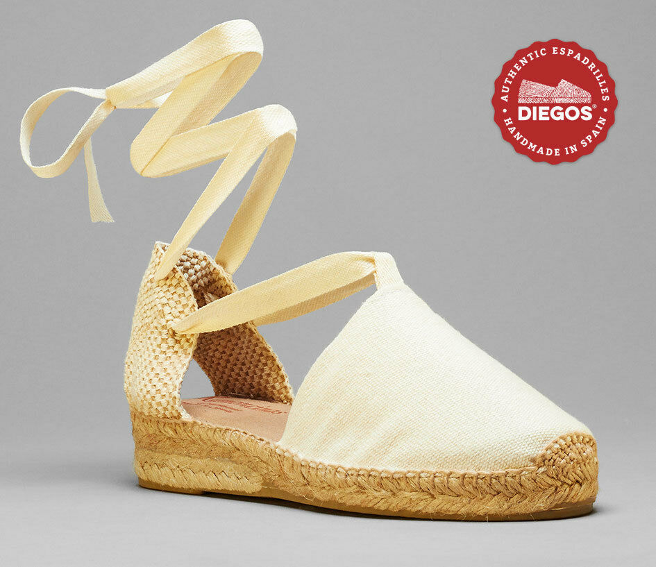 Diegos® Authentic Hand stitched Ivory Weiß Lola lace-up lace-up lace-up Espadrille   Low wedge e3f260