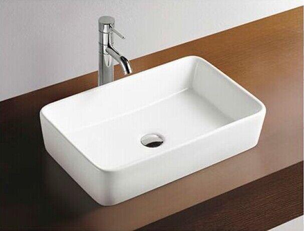 Slim Square Bowl counter top Basin with pop up plug porcelain