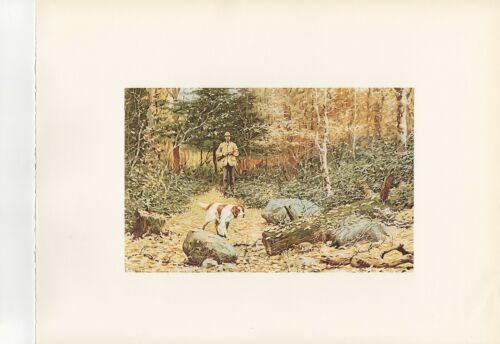 """1895/"""" LONG GUN /& DOG Color Lithograph 1972 Vintage HUNTING /""""AUTUMN GROUSE"""