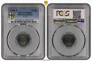 Allied Occupation 5 Pfennig 1948 A PCGS Certified PCGS MS65 50882
