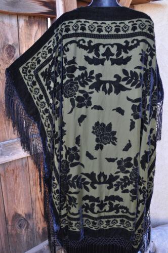 et de à en To soie velours noir olive kimono longue en Burnout Wear Art os franges Veste 6YSII