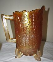 RARE Fenton Marigold Carnival Glass Leaf Tiers Water Pitcher and 2 Tumblers