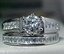 925 STERLING SILVER WEDDING ENGAGEMENT 2 RING SET RADIANT BAGUETTES SIZE 6