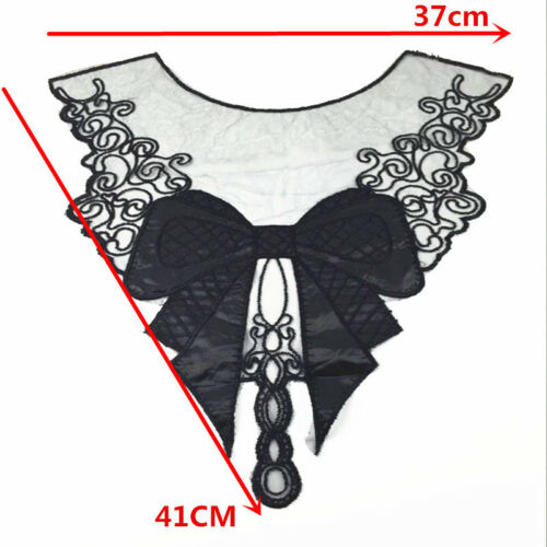 Black Fabric Venice Collar Lace Bow Polyester Sewing Trim Applique Craft