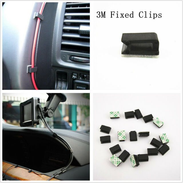 30 Pcs Plastic Black Car Data Wire 3M Fixed Clip Cable Mount Clamp For Off-Road