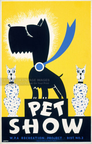 WPA Recreation Project Dog Cat Poster Fine Art Print Vintage 1930s PET SHOW