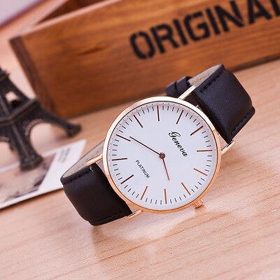 Men Women Leather Analog Stainless Steel Casual Movement Quartz Wrist Watch