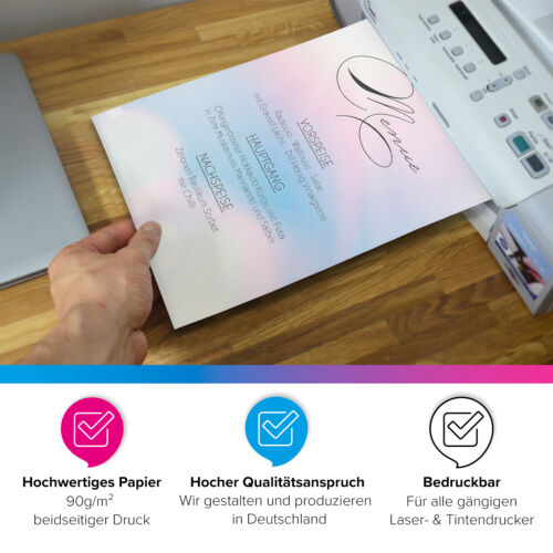 50 Blatt Briefpapier Set DIN A4 Briefbögen Motivpapier Bastelpapier rosa blau
