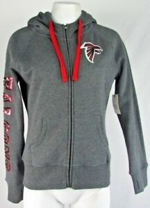 check out 00cf0 d4fd5 Details about Atlanta Falcons Women NFL Full Zip Gray Hoodie with  Drawstring S