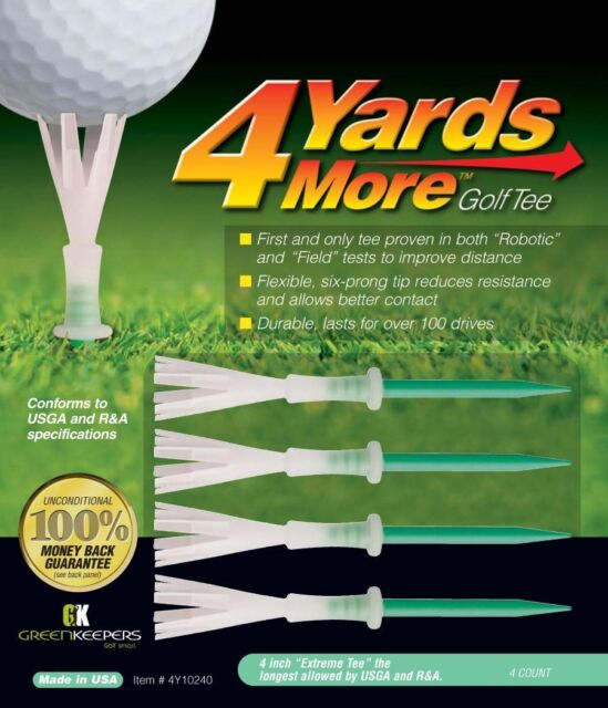 4 Yards More - Green Driver Golf Tees 4 Inch tees - Improve your distance