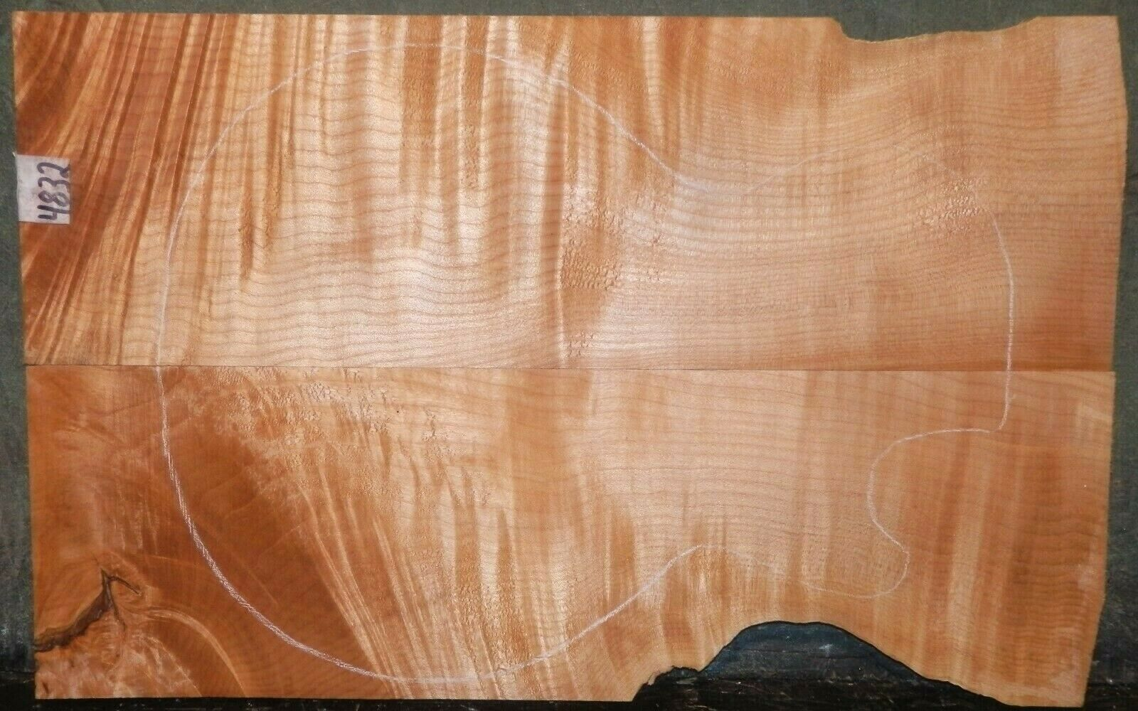 Flame Tiger Curly Maple Wood 4832 Luthier Carved Top Guitar set 22 x 14 x 5 8