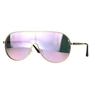 Futuristic-Oversized-Sunglasses-Round-Shield-Metal-Frame-Mirrored-Lens