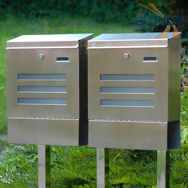 Doppel-Standbriefkasten 2er Edelstahl Briefkasten TERRA _ neues Design
