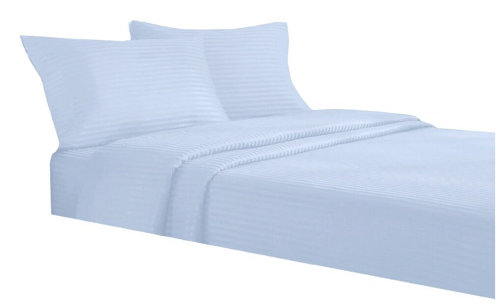 300TC Egyptian Cotton Quality Sheet Set TWIN EXTRA LONG blueeeeE STRIPE