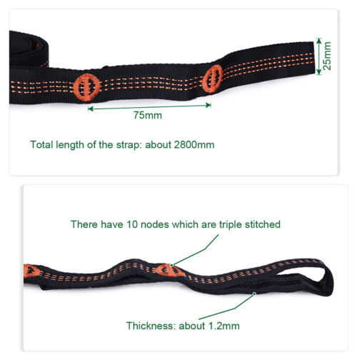 2 Pack Adjustable Hammock Straps Camp Tree Hanging Straps Swing Ropes with Hooks
