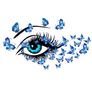 Blaue-Schmetterlinge-Auge-Wandtattoo-Eye-Wandsticker-Wandaufkleber-Folie