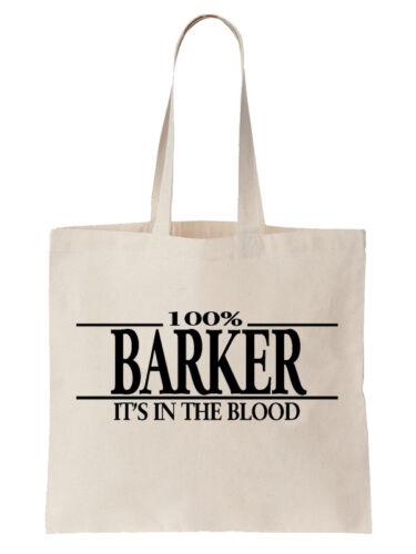 Barker Family Name Tote Shoulder Bag Shopper Surname Gift Gift Tree Cool