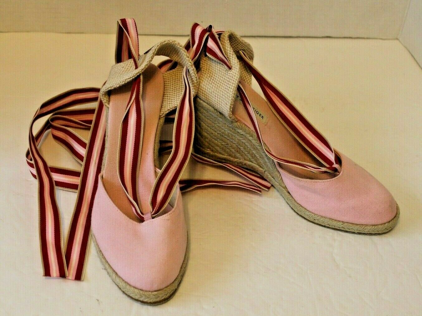 Tommy Hilfiger Womens 7M Pink Canvas Espadrille S… - image 2