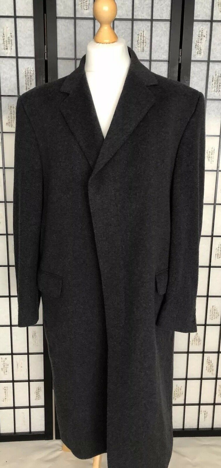 Dehavilland De havilland grau Charcoal Cashmere Wool Overcoat Coat Coat Coat Large XL 44R   Attraktive Mode  142536