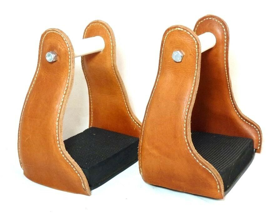 Leather Covered Western Endurance Stirrups Light Brown