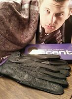 Men's Genuine Deer Leather Gloves, Color Black, Size 9, 9.5(price For One Pair)
