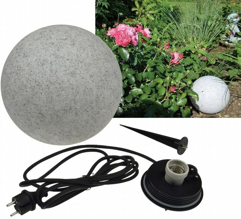 Garten Kugelleuchte Erdspieß  Granit-28  IP44, 230V, 1,5m Kabel, E27 Fassung | Feinen Qualität