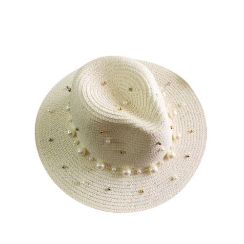 Women Ladies Sun Hat Faux Pearl Beads Beach Straw Hat Sun Visor Casual Summer