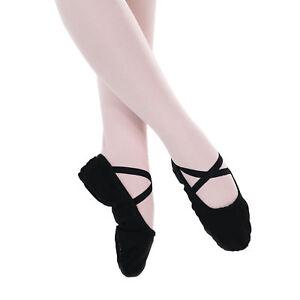 Baiwu-Women-039-s-Canvas-Split-Sole-Dance-Slipper-Ballet-Shoes