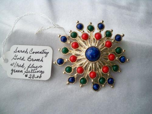 1971 Sarah Coventry CARNIVAL Goldtone Red White /& Blue Clip Back Earrings NOS